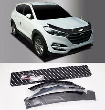 Black Emblem Hood Guard Protector Cover 3p For Hyundai Tucson 2016 2017