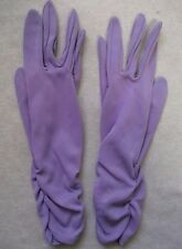 WOMENS VINTAGE GLOVES LILAC PURPLE BY KIRGLOVES SIZE 7.5 GATHERED 1960s 1970s