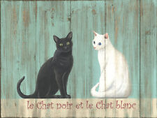 Le Chat White and Black Cat Cats Kitties Pets Animals French Metal Sign