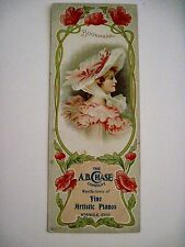 "Vintage Advertising Bookmark for ""A.B. Chase Co."" for Pianos"