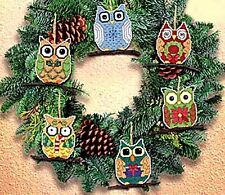 """Janlynn Counted Cross Stitch kit 3"""" each Set of 6 ~ OWL ORNAMENTS #021-1453 Sale"""