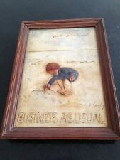 "helen langley "" business as usual "" signed plaster relief plaque"