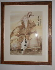 NICE CHINESE SIGNED AND STAMPED WOOD CUT - MAN PLAYING INSTRUMENT