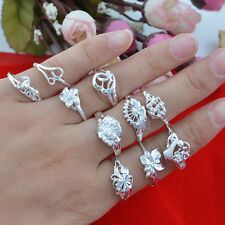 10pcs wholesale Jewelry Fashion  925 silver Mixed size rings for women N-72