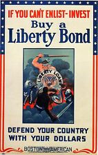 """WORLD WAR I POSTER ART """"IF YOU CAN'T ENLIST-INVEST"""" BUY A U.S. LIBERTY BOND"""