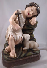 CHILD w/ Cross & SHEEP Vintage-style reproduction figurine St John The Baptist
