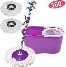 360° Easy Clean Floor Mop Bucket 2 Heads Microfiber Spin Rotating Head Purple
