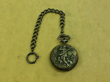 * Zitura Pocket Watch 17 Jewels Incabloc, Hunter Scene, Wind Up Swiss Made w Fob