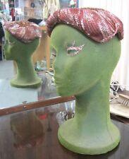 SEQUIN CITY BEADED vintage 50s cocktail bridal formal skull cap hat Holiday wear