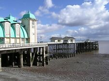 2 Victorian Views Penarth, Beach and pier Vintage Old Colour Pictures Photos NEW
