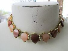 Vintage Thermoset Moonglow Brown Tan Teardrop Necklace Choker Mid-Century