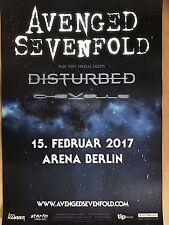 AVENGED SEVENFOLD + DISTURBED  + 2017 BERLIN  - orig.Concert Poster  A1 NEU