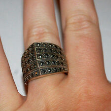 STERLING SILVER 925 MARCASITE STONES WOMANS LADIES BAND RING SIZE 8