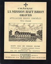 GRAVES 1ER GCC VIEILLE ETIQUETTE CHATEAU LA MISSION HAUT BRION USA RARE §01/02§