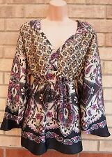 WALLIS CREAM PURPLE FLORAL BELTED BACK BOHEMIAN SATIN BLOUSE TUNIC TOP L 14