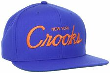 New York Metz Crooks & Castles Men's Royal Orange Woven Snapback Hat NWT