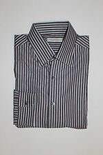 NWT $395 ERMENEGILDO ZEGNA DRESS SHIRT, WHITE WITH BROWN STRIPES, 17.5, COTTON