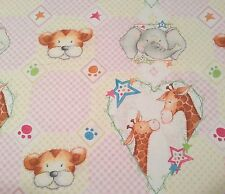 Cuddle Time Paw Prints Quilting Treasures BTY Giraffe Elephant Baby Pink