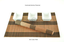 6 Handmade Bamboo Wood Placemats Table Mats, Black-Brown, P008