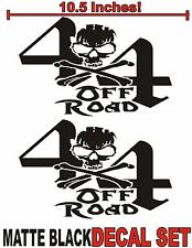 4x4 Truck Decal Set MATTE BLACK Skull Ford Chevy Dodge Toyota GMC