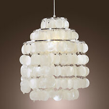 Vintage Capiz Shell Shade Chandelier Ceiling Swag Lamp Hanging Light Living Room