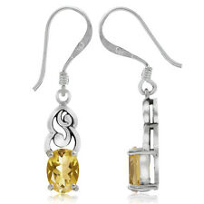 1.42ct. Natural Citrine 925 Sterling Silver Victorian Style Dangle Earrings