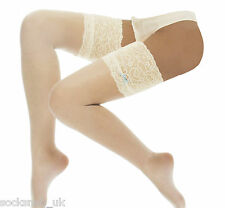 Deep Lace top Bridal Stockings with Blue Bow, wedding  by leading Designer, J