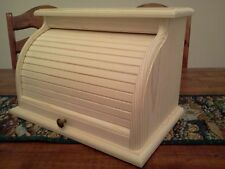 HAND CRAFTED SOLID PINE UNFINISHED ROLL TOP BREAD BOX
