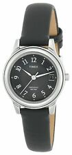Timex T29291, Women's Black Leather Watch, Indiglo, Date, T292919J