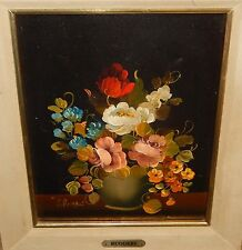 VITO RUGGERI ORIGINAL OIL ON CANVAS FLORAL VASE PAINTING