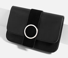 ZARA BLACK CIRCULAR CLASP CLUTCH BAG HANDBAG - BNWT