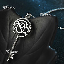 18K WHITE GOLD GF SWAROVSKI CRYSTAL KEY PENDANT FILIGREE ROSE NECKLACE