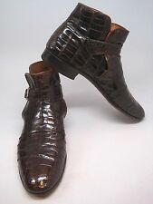 Mens Vintage Custom Brown Crocodile Leather Ankle Short Boots Shoes Buckle
