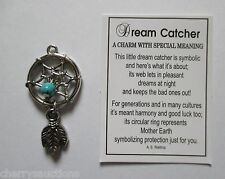 v DREAM CATCHER Charm feather ganz harmony good luck mother earth turqouise bead