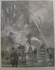 NEW YORK FIRE DEPARTMENT IN ACTION 1892 HARPER'S WEEKLY PRINT
