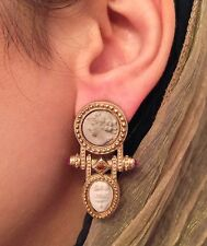 Estate Ruby Citrine and Stone Cameo Earrings 14K Yellow Gold - HM603