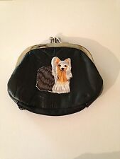 Yorkshire Terrier Dog Design Leather Change Purse Wallet Yorkie Dog Breed Gifts
