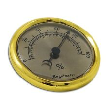 Hygrometer zum Einbauen in Humidore Messing gold 7,5 cm Durchmesser / 74424