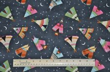 1/2 yard 100% cotton flannel fabric Tee Pees tents camping quilting sewing craft