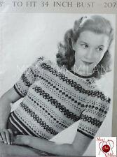 "VINTAGE KNITTING PATTERN 1930s-40s LADY'S FAIR ISLE JUMPER SWEATER 34"" - PDF"