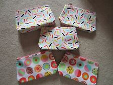 LOT OF 5 CLINIQUE MULTI COLOR CANDY STORE MAKEUP COSMETICS BAGS POUCHES CLUTCH