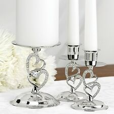 Silver Double Heart Rhinestone Love Wedding Ceremony Unity Candle Stand Set