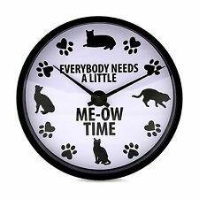 Cat Clock - Me-Ow Time Round Wall Clock from Our Name is Mud