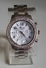 Designer  style Geneva large bracelet Silver finish  boyfriend watch
