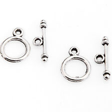 30 Sets Tibetan Silver Round Toggle Clasp Jewelry Making Findings For Diy