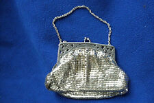 VINTAGE WHITING AND DAVIS SILVER MESH EVENING BAG PURSE ~ ORNATE METAL FRAME