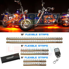LEDGlow 6pc Orange Motorcycle LED Neon Lighting Kit w Flash Patterns & Remote