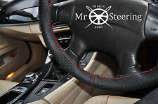FOR HYUNDAI TUCSON MK1 PERFORATED LEATHER STEERING WHEEL COVER RED DOUBLE STITCH