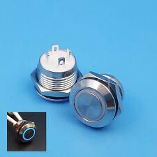 5Pcs 12mm Blue 12V LED 4Pin Momentary Mini Push(Click) Button Switch Short Body