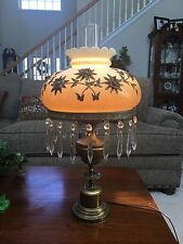 Vtg Mid Century Brass and White Opalescent Glass Applied with Metal Flowers Lamp